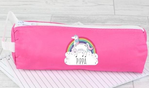 Personalised unicorn pink pencil case