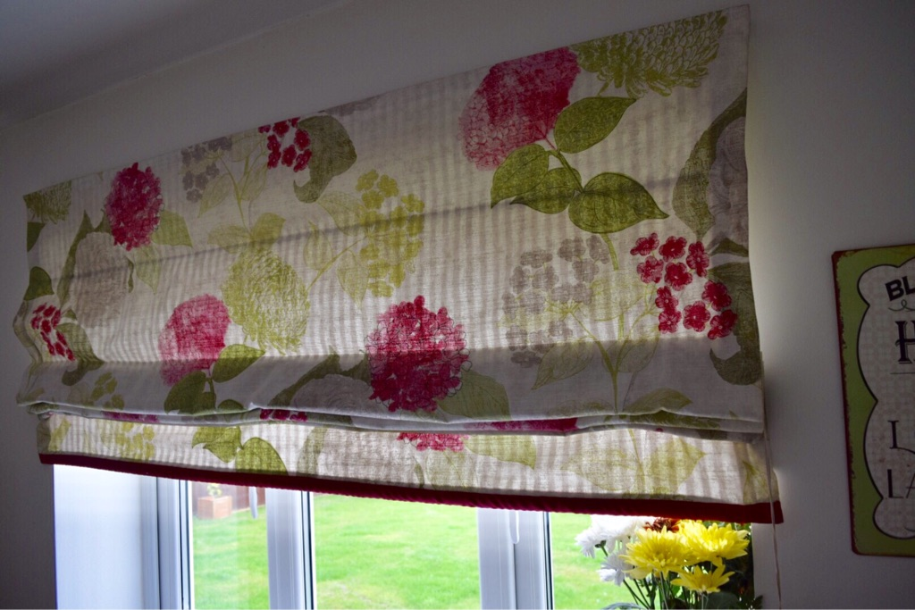 TWO PAIRS OF NEXT CURTAINS WITH MATCH BLIND AND CUSHIONS