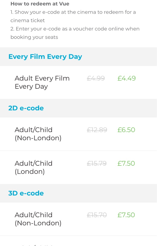 Cinema tickets -  VUE (non London)  2D Adult E-code