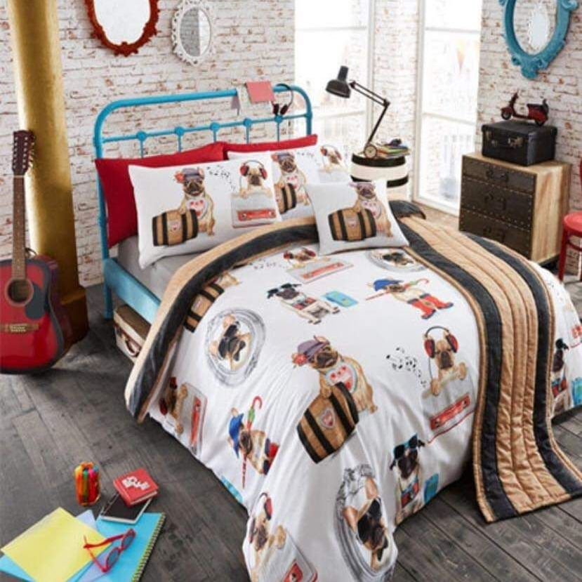 5pc duvet set pug