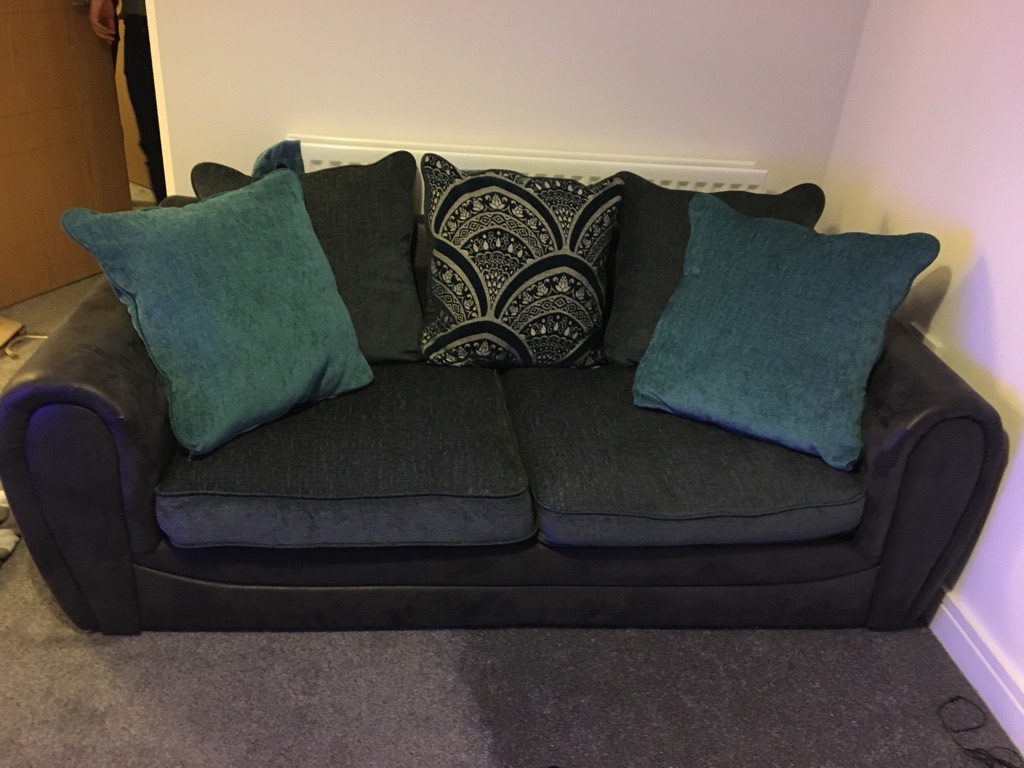 3 seater sofa & swivel chair grey fabric
