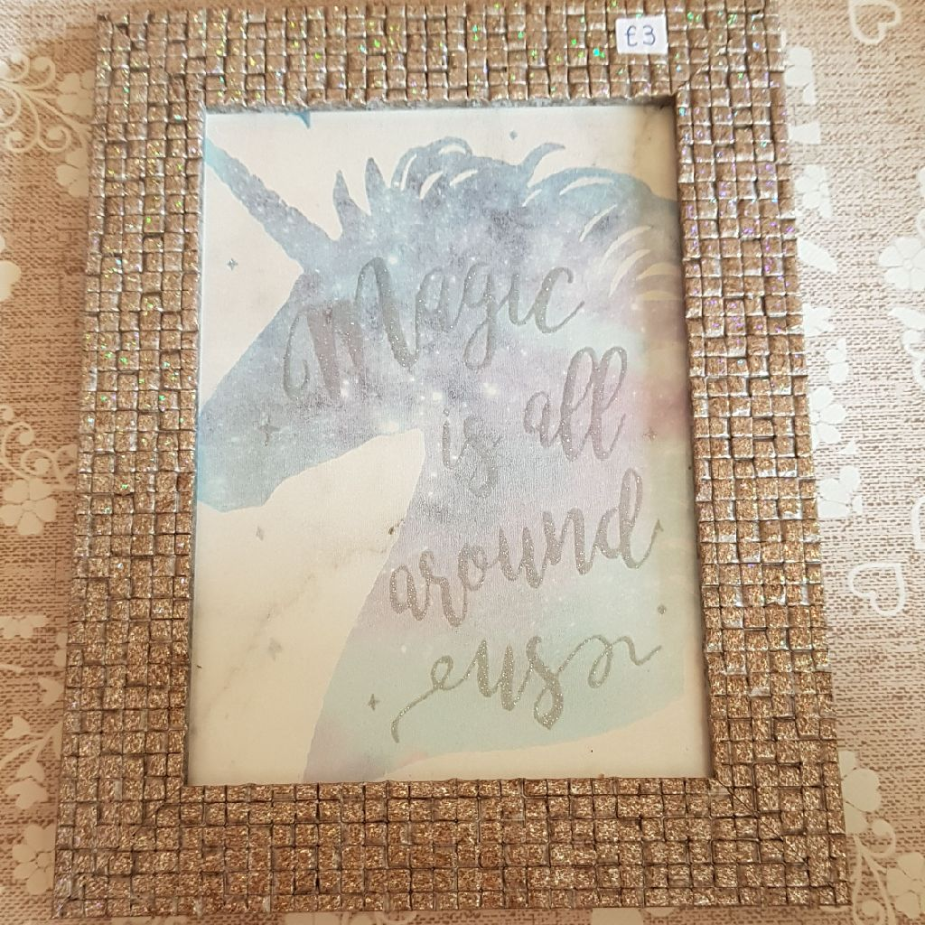 Small framed unicorn picture