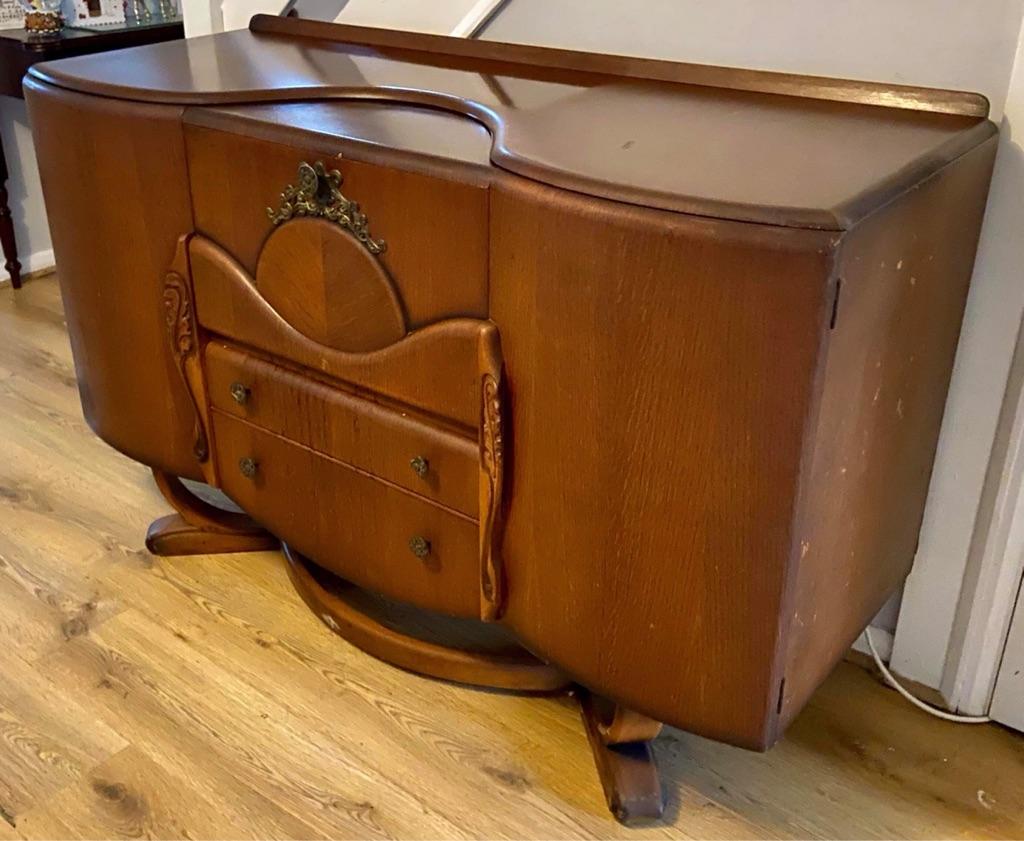 1920's Vintage Carved Oak Sideboard