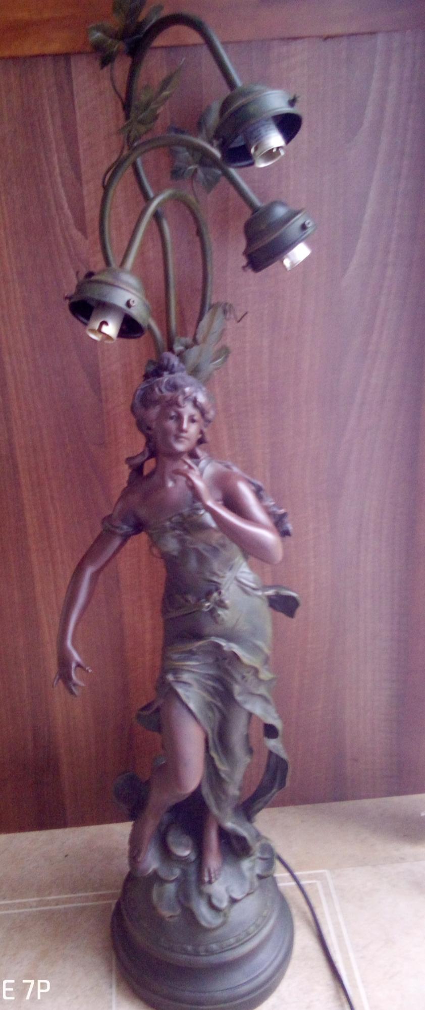 Large Vintage Art Nouveau Style Lamp