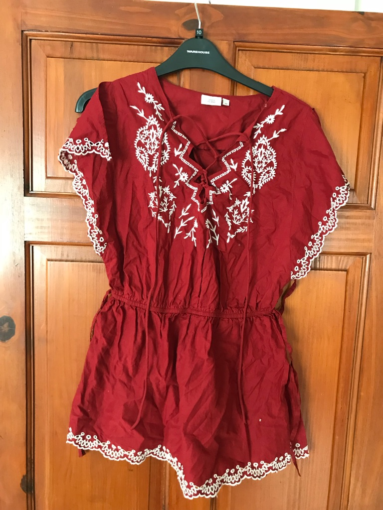 River island embroidered top size 10