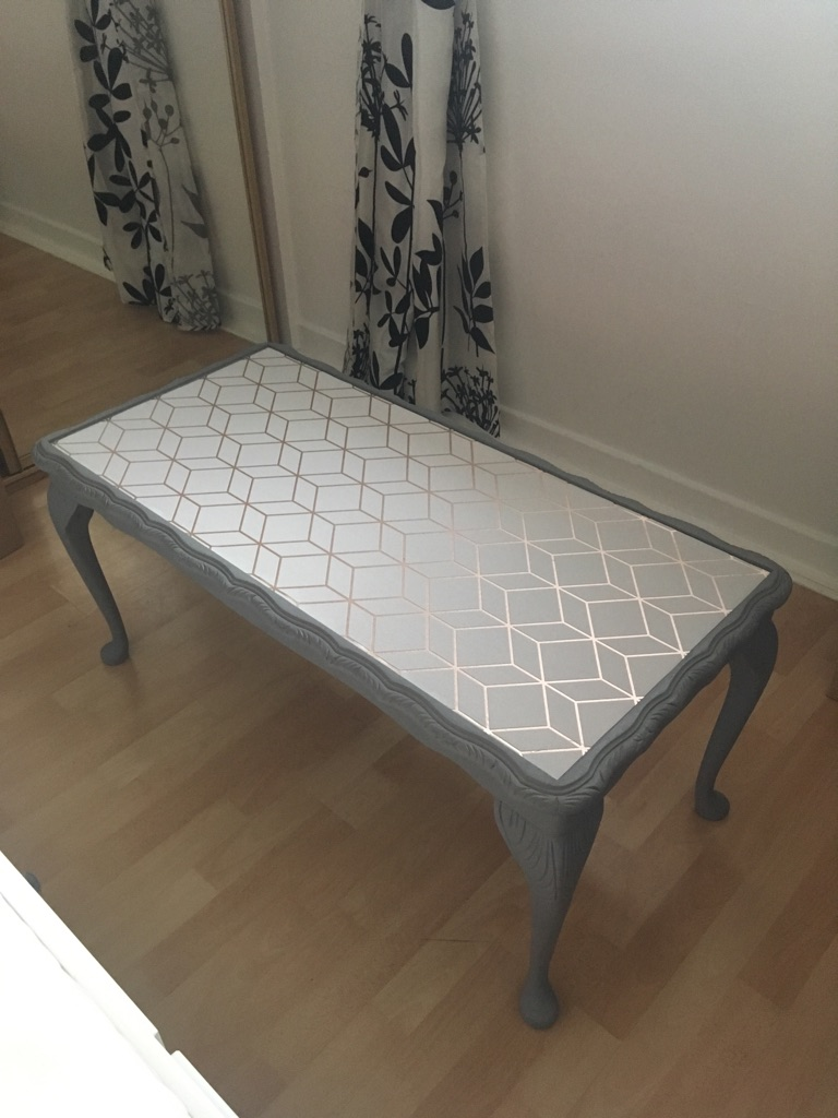 Upcycled grey antique coffee table with Geometric pattern