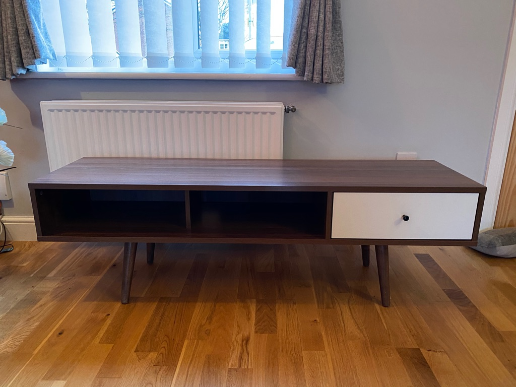 Walnut TV stand and 2 side tables