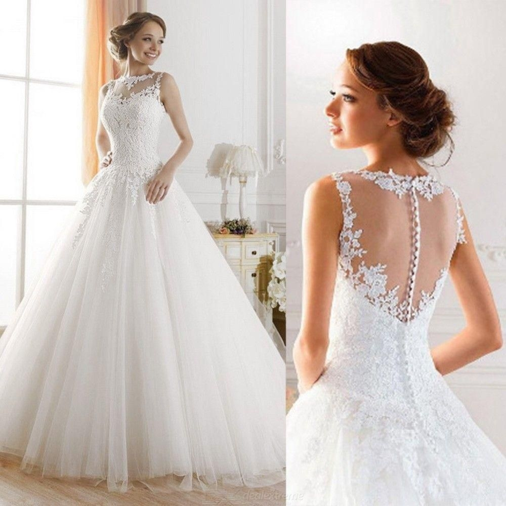 Lace Wedding Dress / Prom Dress With Applique Detail