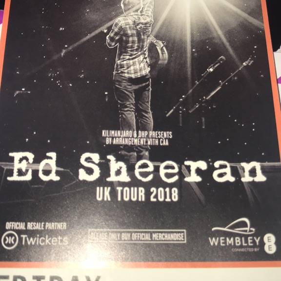 Ed Sheeran 2 tickets on 17/6/18 at Wembley London