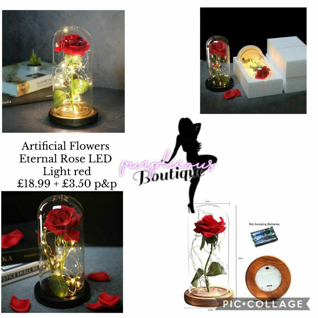 Artificial Flowers Eternal Rose LED Light red🥀🌹