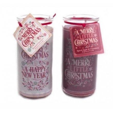 Merry Christmas & Happy New Year Tube Candles set of 2