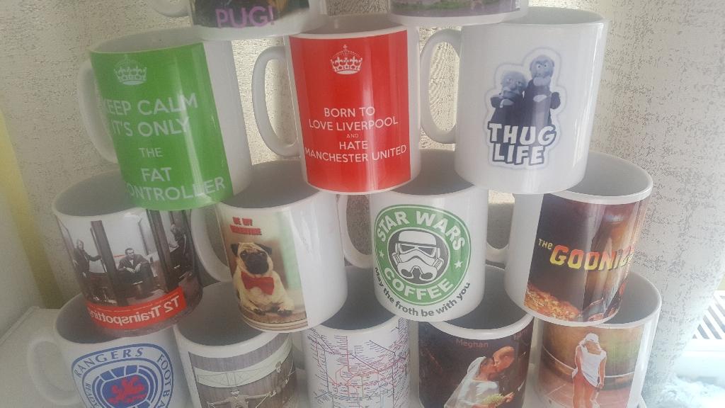 Hand printed mugs x 30