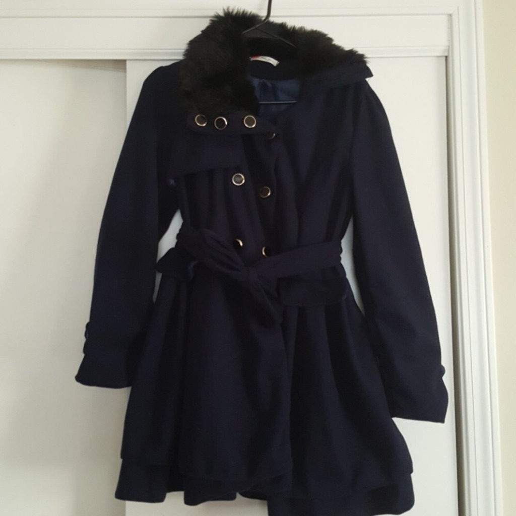 Xian Xian Blue Pea Coat with Black Faux Fur