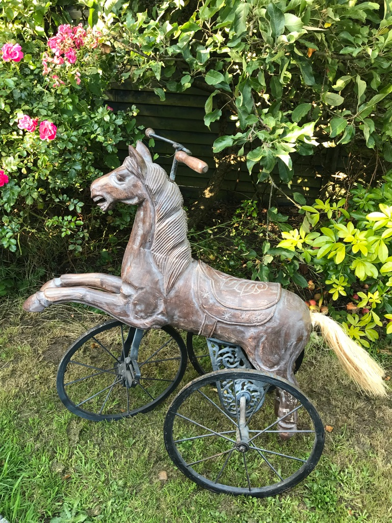Carved wooden Victorian antique horse L80