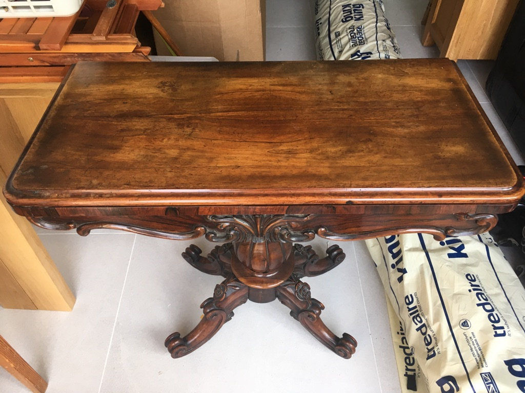 Vintage hall table dark wood ornate legs