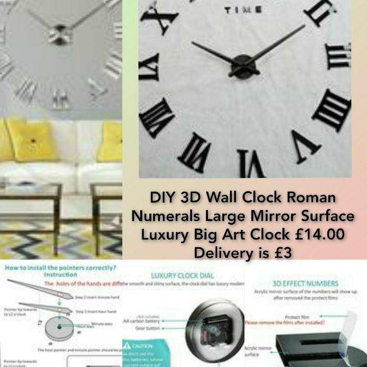 DIY 3D Wall Clock Roman Numerals Large Mirror Surface Luxury Big Art Clock🕑