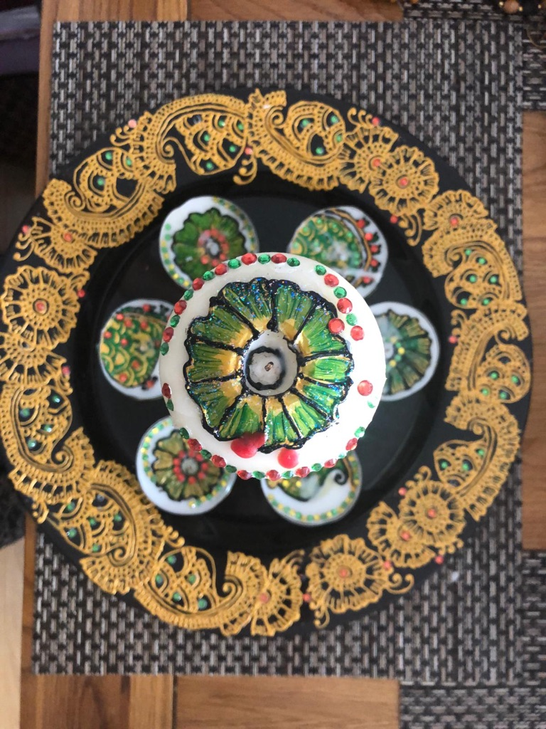 Henna / Mendhi design Candle Set (Black & Green)