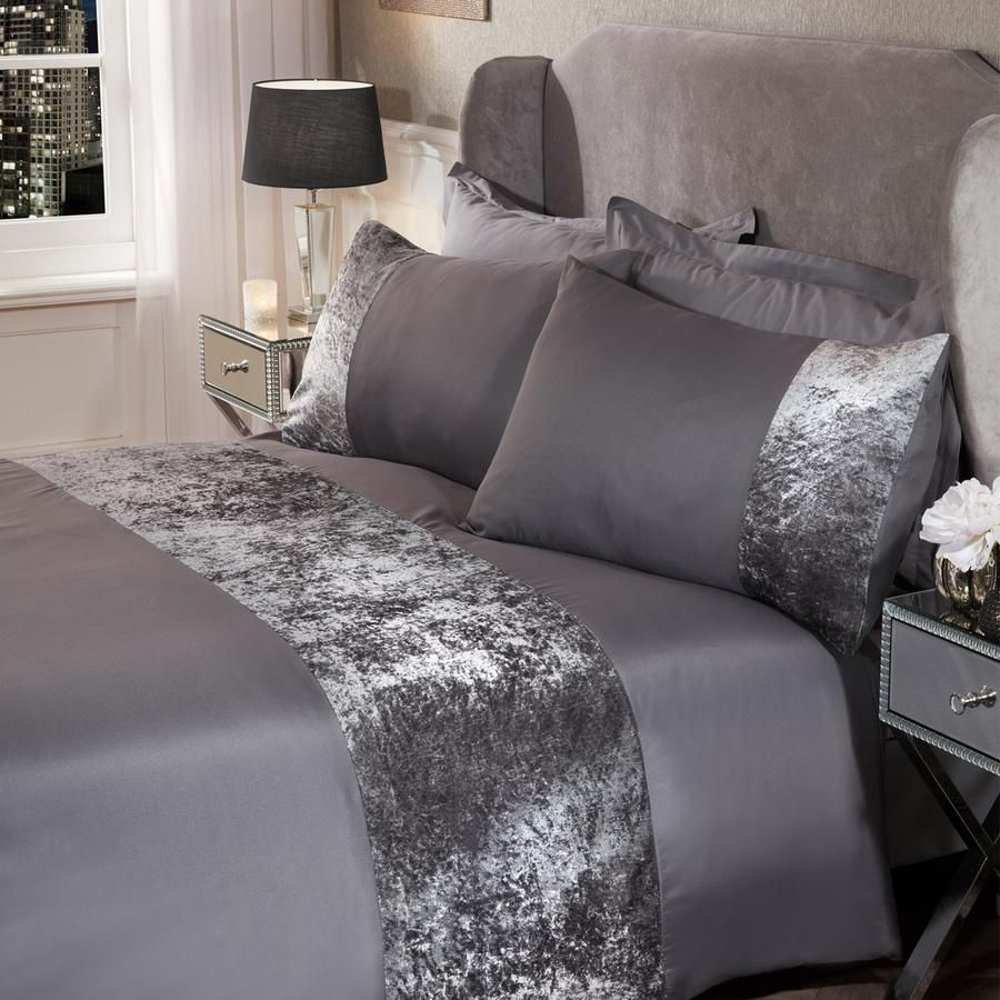 SIENNA CRUSHED VELVET BAND DUVET SET - CHARCOAL GREY