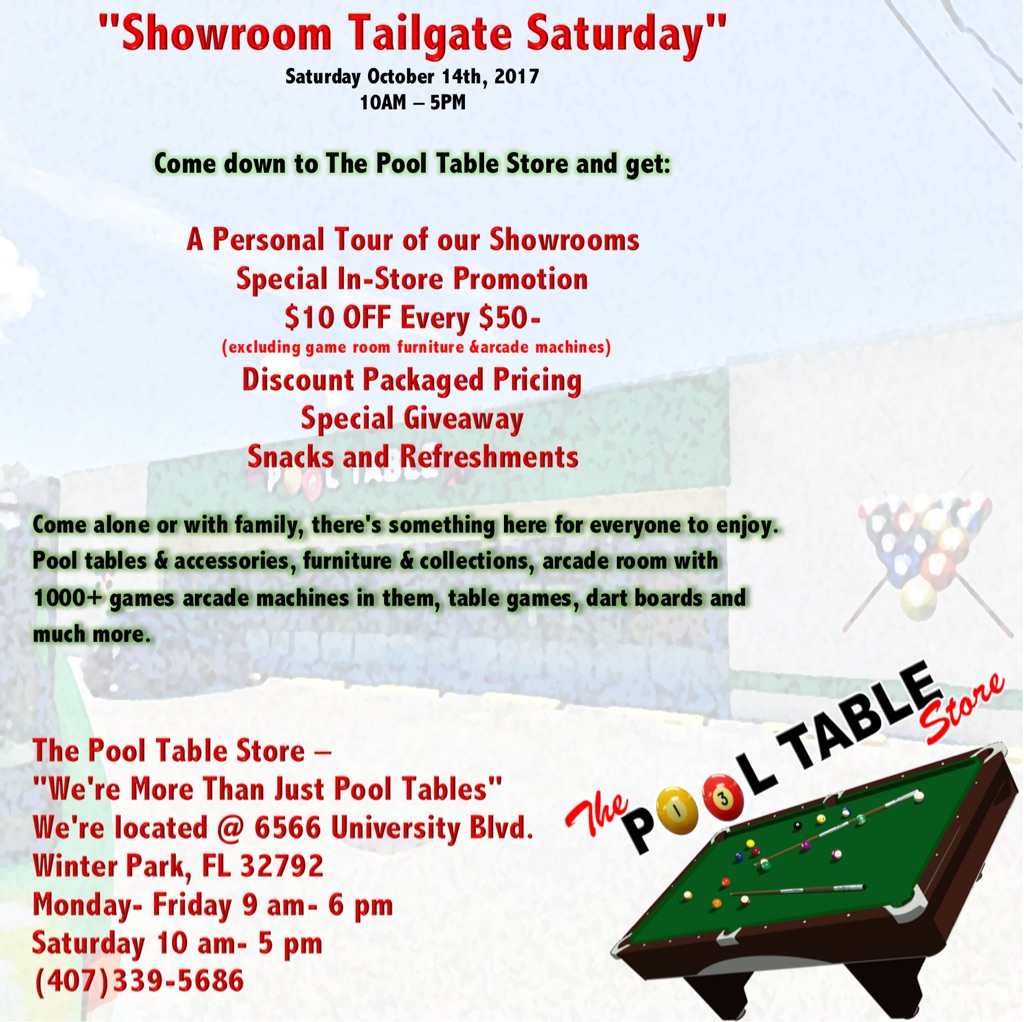 Free Showroom Tailgate Saturday Event
