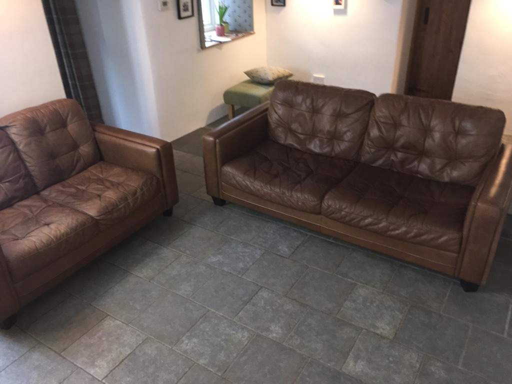 Leather sofas, 3 and 2 seater genuine leather sofas, tan brown