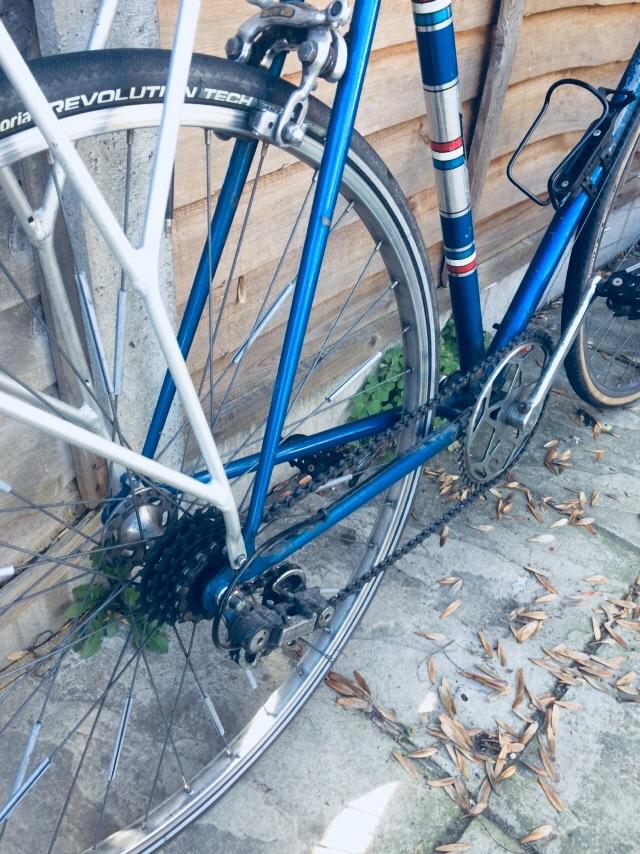 Blue vintage road racer bike