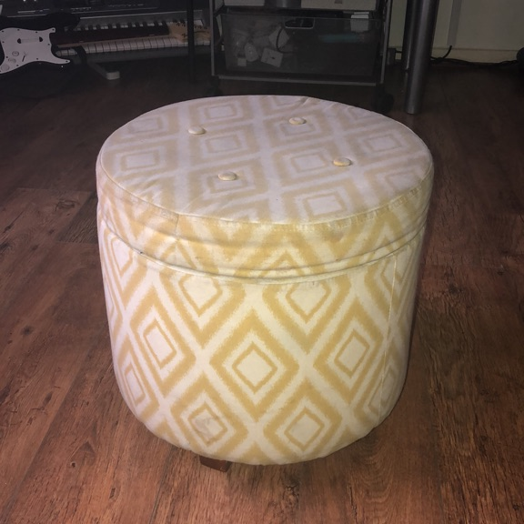Storage ottoman dark tobacco finish solid wood legs with lift off lid