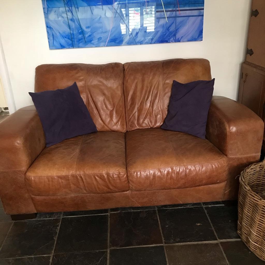 Chestnut leather deco style sofa