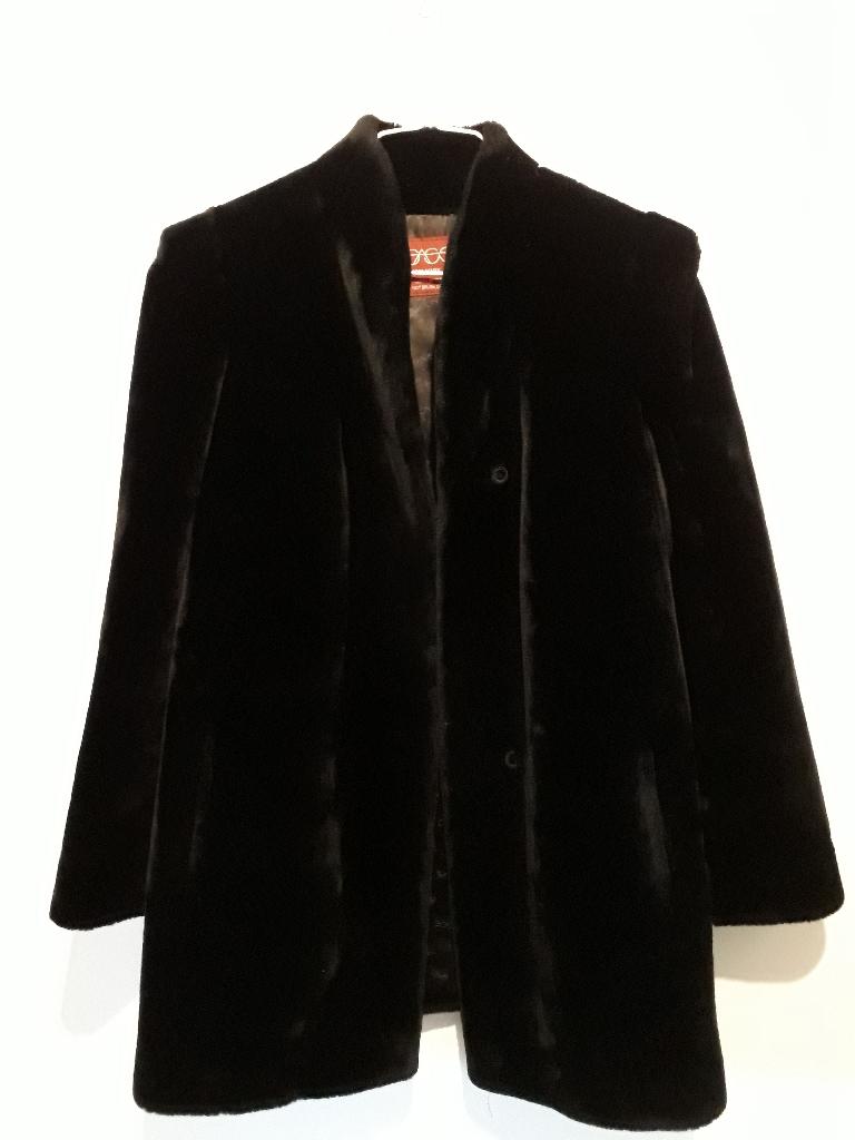 Vintage Sasson Black Faux Fur Coat Size 10/12