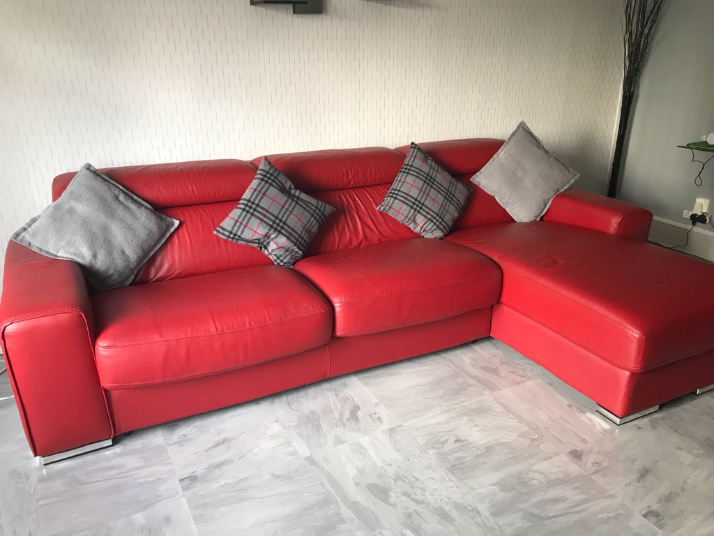 Italian leather sofa bed