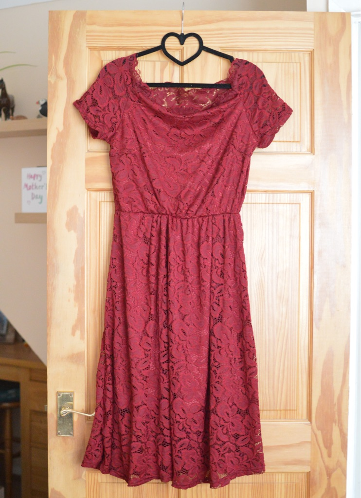 Red lace effect off the shoulder dress