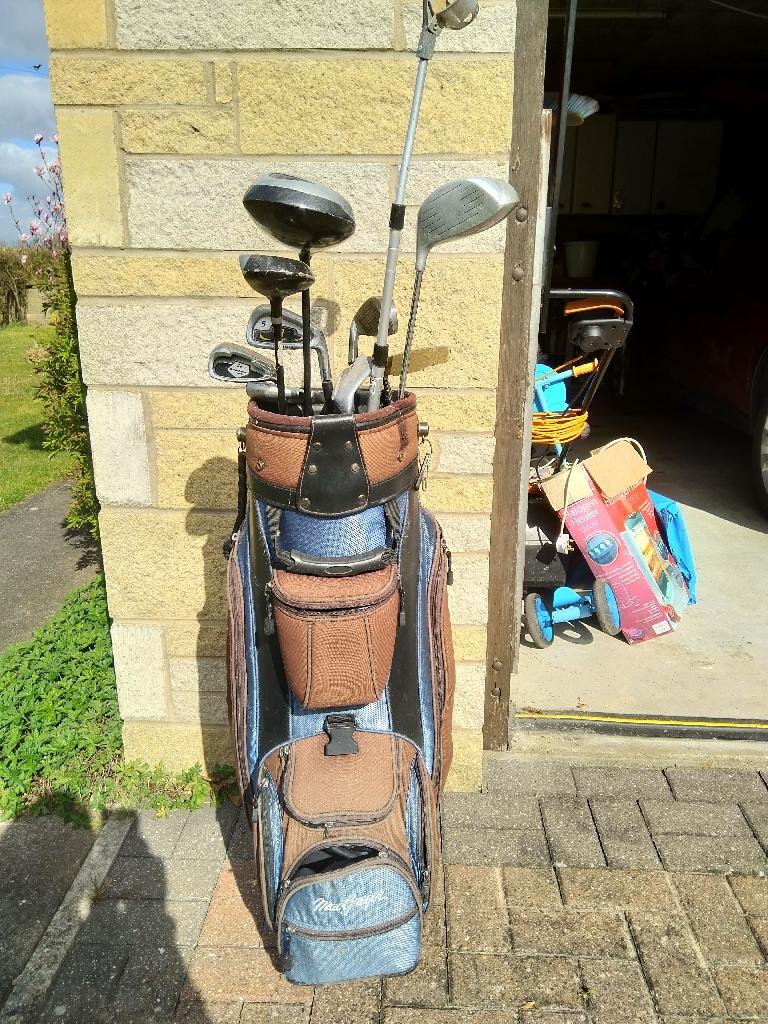 Golf clubs, trolley etc