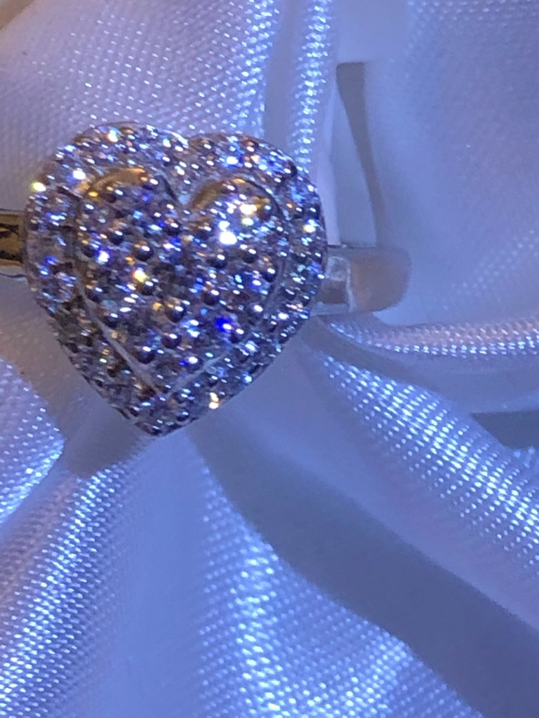 Woman Platinum Overlay Sterling Silver 925 Love  Heart Cluster Ring Size O SWAROVSKI ZIRCONIA NEW