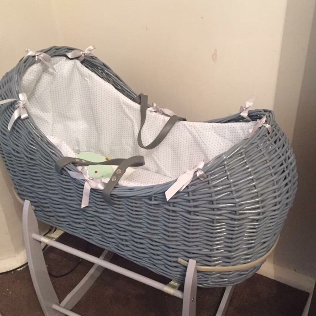 Grey wicker basket,stand & mattress