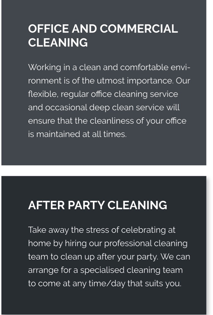 Cleaning services and housekeeping