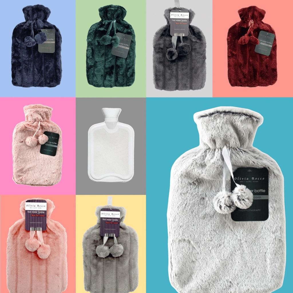Faux Fur Pom Pom Hot Water Bottle, 2L Capacity