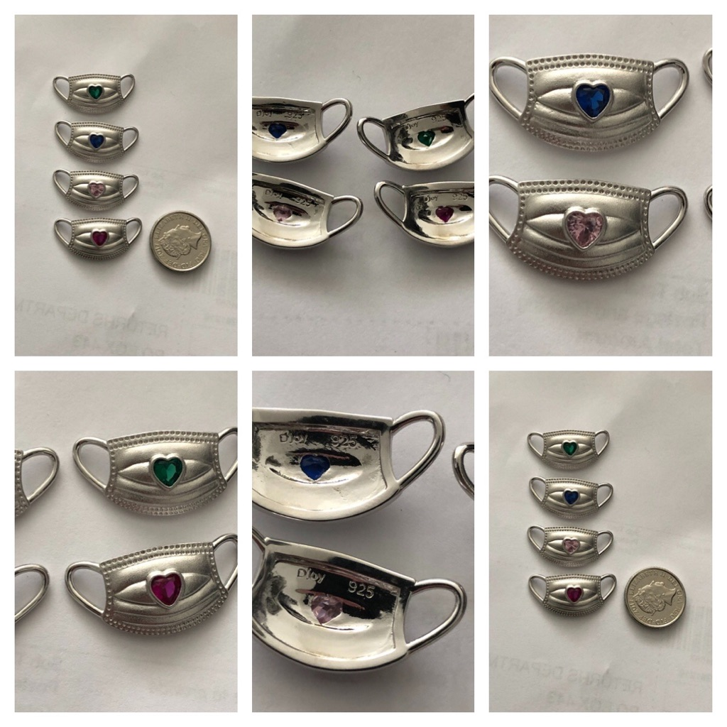 Set of 4 sterling silver 925  face masks  new