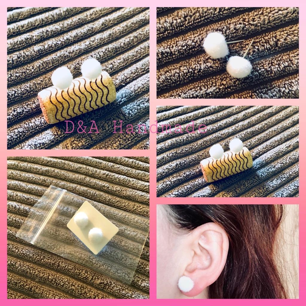 White 🥚Handmade 🙌 Earrings Pom Pom