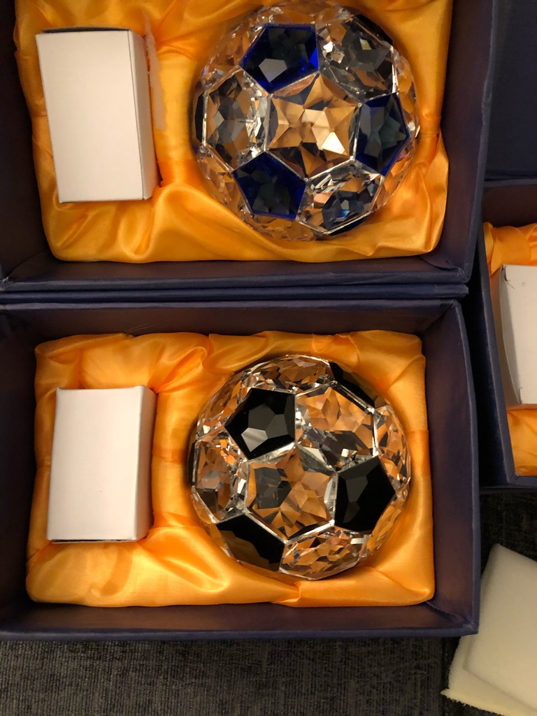 Large Heavy Crystal Football With Crystal Base Stand Black Blue brand New Sports