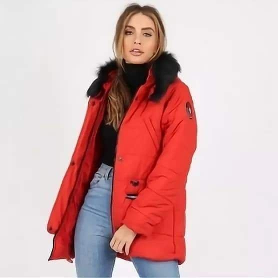 Puffer Coat With Faux Fur Trim On Hood And Badges