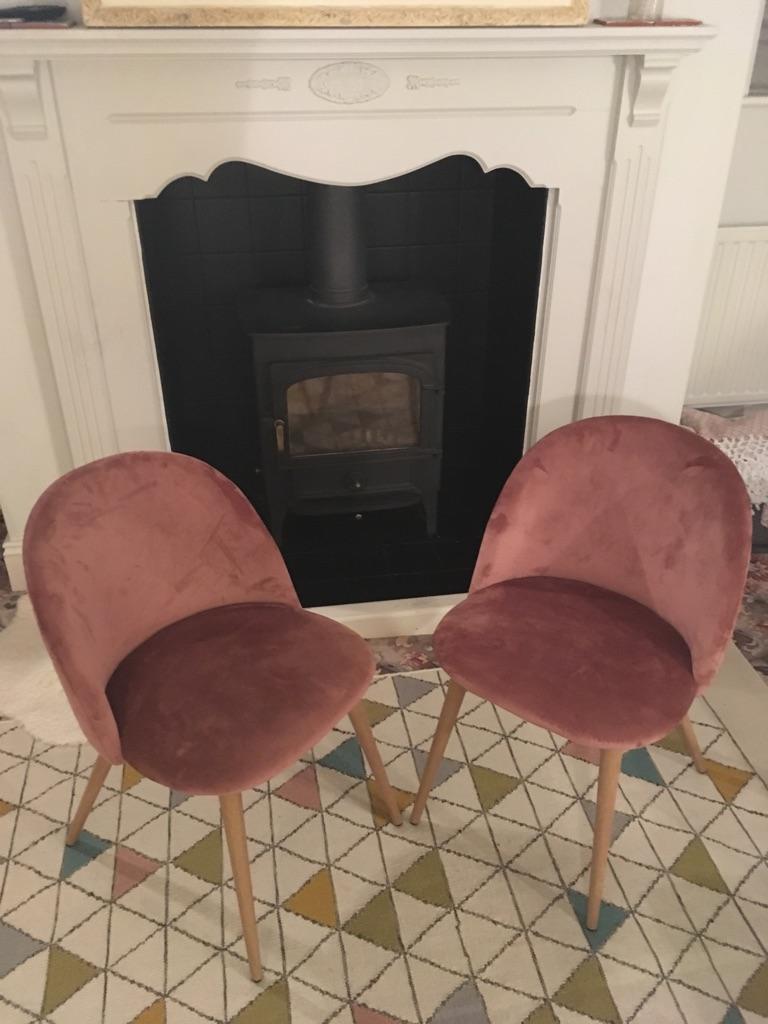 2 velvet dining chairs
