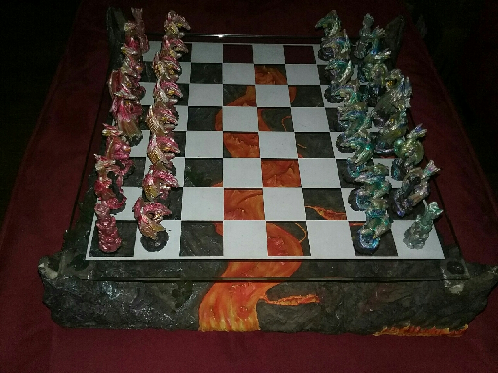 Legendary Battle Fire and Ice Lava River Dragon Warrior Chess Set
