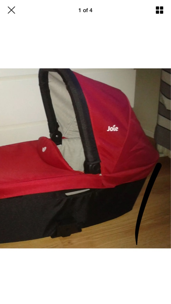 Joie carrycot exclusive to Mothercare - red and black.