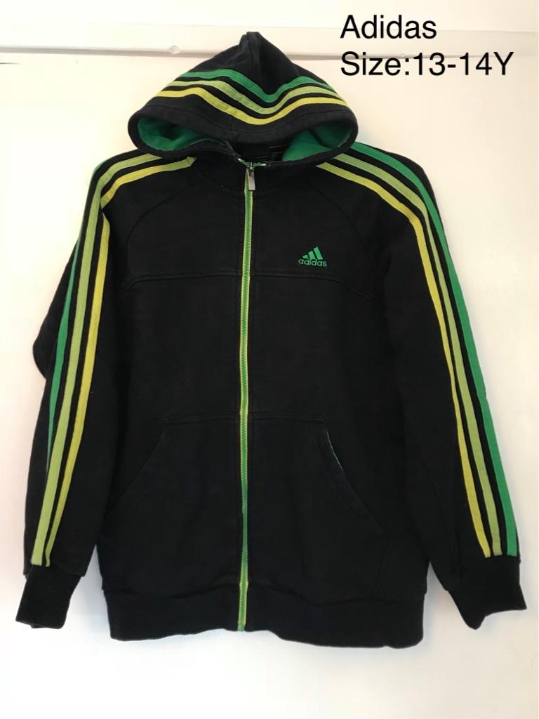 Unusual 3 Stripes Full Zip Adidas Hoodie, 13-14 Yrs
