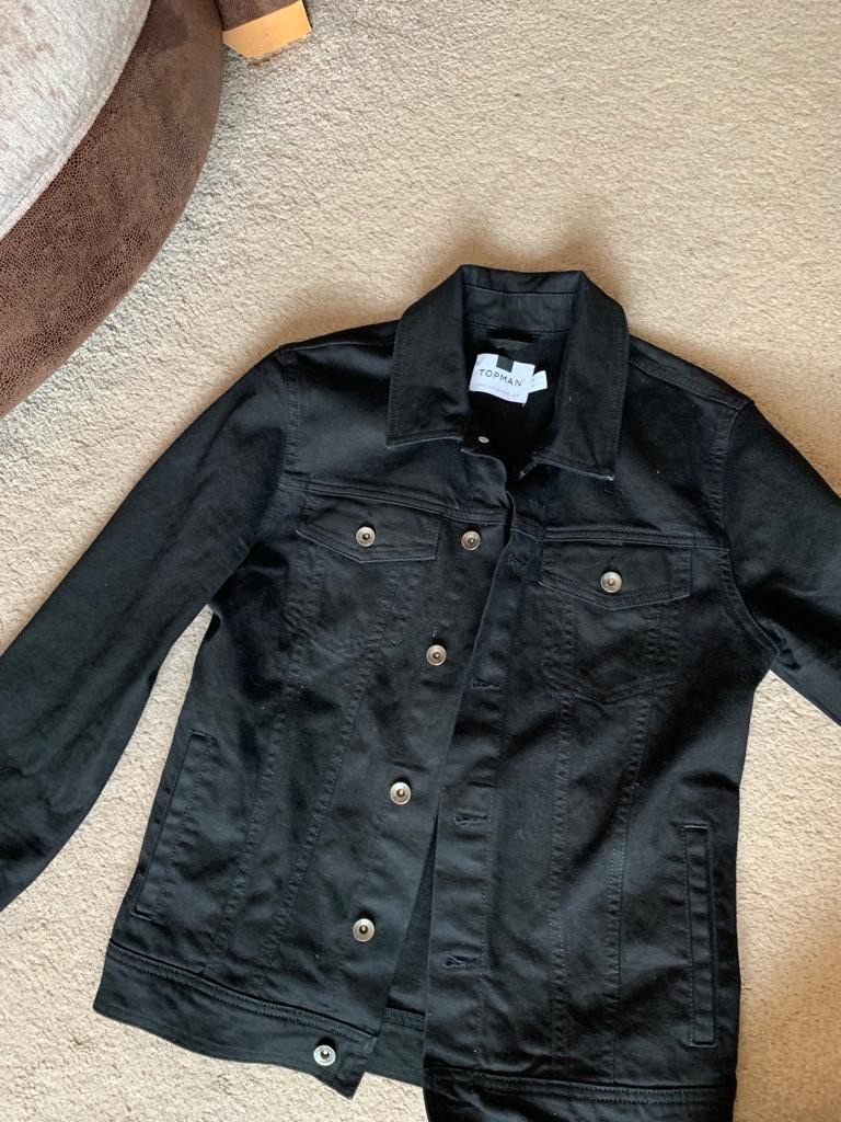 Topman Black Denim Jacket, M, Brilliant Condition