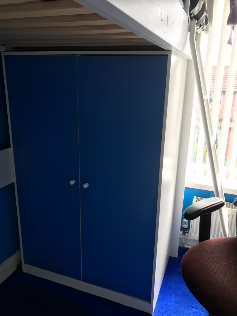 REDUCED High sleeper bed with desk and wardrobe
