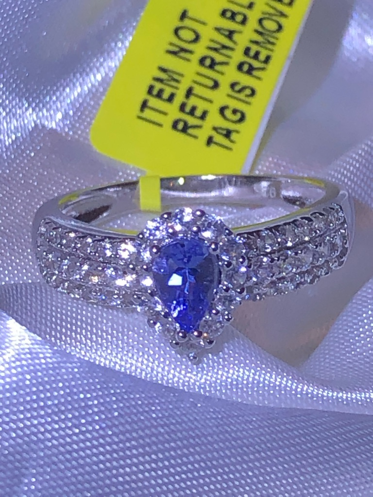 Womans Tanzanite Pear Natural Cambodian Zircon Ring Size O P Q Sterling Silver 925 1.24 Ct