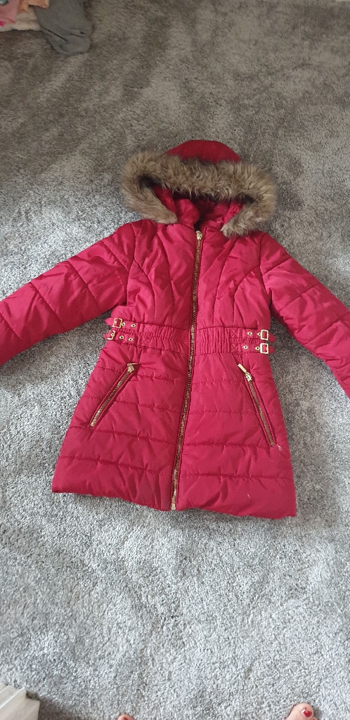 Girls red coat , size 5/6