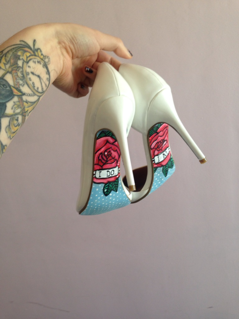 Beautiful hand painted wedding shoes.