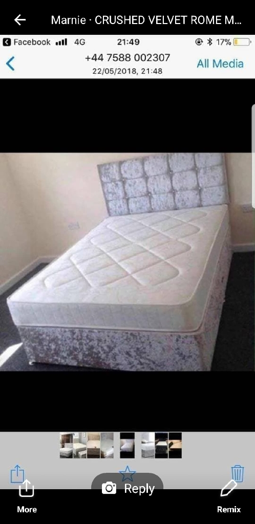 Brand new divan bed with mattress and headboard free del