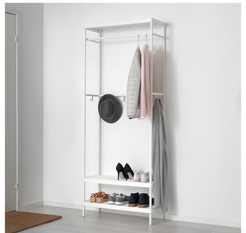 Coat rack with shoe storage unit, white, 78x193 cm